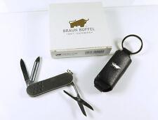 Schlüsselanhänger mit Taschenmesser und Lederetui von Braun Büffel mit OVP