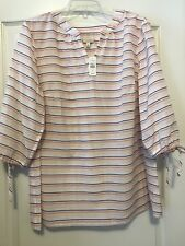 NWT Talbots Sz 1X White W/Red & Blue Strips 3/4 Sleeve Peasant Tunic!