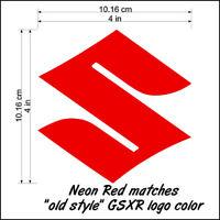 Suzuki S Logo neon Red 450 decals gsxs 750 sticker 1000 1100 gsxr 85 rmz 600 drz