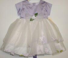 NUEVO de Bebé Niña Floral Pétalos Vestido Blanco Lila Edad 6-12 MESES TALLA L