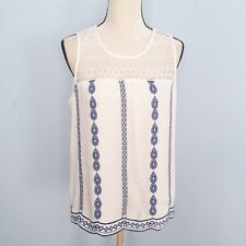 Skies are blue womens white lace blue embrioded tank top L