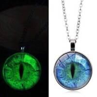 Glowing Eye Pattern Glass Dome Cabochon Luminous Necklace Pendant GirlJewelry CA