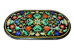 24 x 48 Inches Marble Dining Table Top Oval Office Table with Pietra Dura Art