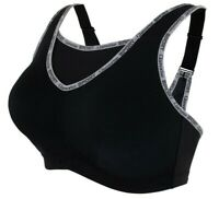 Brand Name YOGA Bra 36DD SPORT No-Bounce CAMI Wicks-U-Dry! WIDE-STRAPS Black NEW