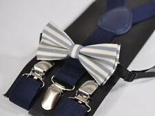 Baby Boy Kids Elements Stripe Grey Bowtie Bow Tie + Navy Blue Elastic Suspenders