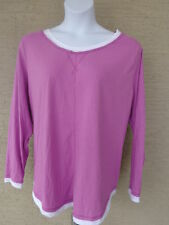 NEW Just  My Size L/S scoop neck Twofer Tee Top lavender/white 3X
