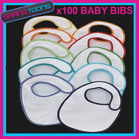 100 White Plain Baby Bibs (Coloured Rim) Job Lot Bulk Buy Wholesale