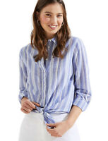 LOFT Women's M - NWT$59 - Blue/White Striped Gauze Tie-Front Button-Down Shirt