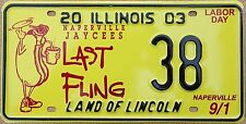 "Illinois 2003 ""Naperville Last Fling"" USA Number License Plate American 38"