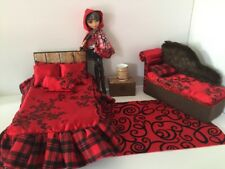 Barbie Or Ever After High.furniture Bedroom Set:Bed,sofa,lamp:Cerise Hood