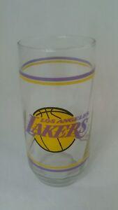 Vintage Los Angeles Lakers Glass Tumbler Cup 1980's Mobil Promo LA