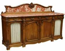 ANTIQUE FRENCH SIDEBOARD,  FRENCH LOUIS XV STYLE MARBLE-TOP WALNUT , early 1900s