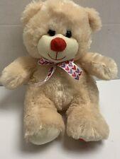 "Hug Fun Teddy Bear Plush Stuffed Animal Love Heart Foot & Bow 12"" Beige Cream"