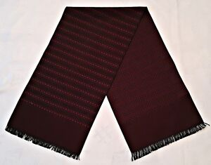 VINTAGE PLAID & CHECK BURGUNDY BLACK JACQUARD WOOL BLEND LONG MEN'S SCARF