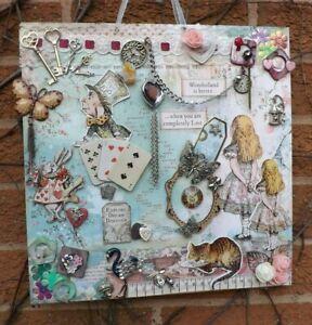 """Alice In Wonderland, Hand Crafted Wall Art, Original Design, 14"""" x 14"""""""