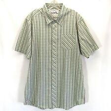 Quicksilver Slim Fit Button Down Plaid Shirt Men's XXL Green Short Sleeve New