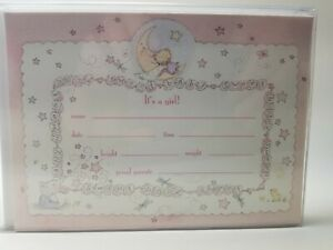 "Birth announcement Cards10pk Marcel Schurman Collection ""t's a Girl ""PJ&Friends"