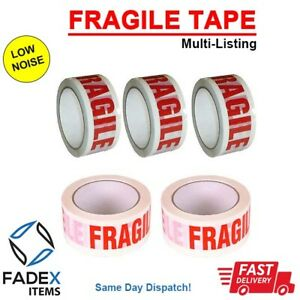 LOW NOISE FRAGILE PRINTED STRONG PARCEL TAPE, 48mm x 66m MULTI LISTING,4,6,12,36