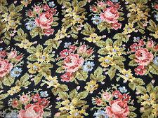 4Y+ VTG Alsatian Rose Black Tapestry Decorator Fabric Gorgeous Barkcloth Era