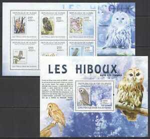 BC1367 2009 GUINEA OWLS BIRDS LES HIBOUX STAMPS ON STAMPS 1KB+1BL MNH