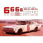 6 David Pearson 1966 Dodge Charger 1/64 scale decal AFX Tyco Lifelike Autoworld