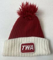 Vintage TWA Airlines Toboggan Red White