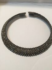 """Choker Austrian Clear Crystals On  Black Plated Steel Necklace""""New"""""""