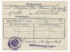 Ü423 BESCHEINIGUNG ELSTERWERDA BIEHLA LIEBENWERDA POLIZEI  JAHR 1919 TEUPITZ
