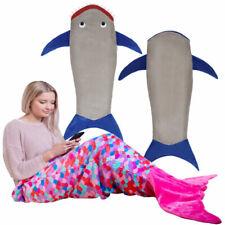 Mermaid / Shark Tail Blanket Adult Fleece Boys Girls Sofa Beach Sleeping Bag