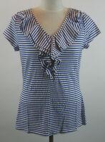 Isaac Mizrahi Seersucker Knit Top Ruffle Neckline S Blue White NEW A254800 Small