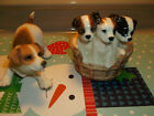 """LOT OF 2 JACK RUSSELL TERRIER PUPS DOG Figurine Statue Pet Resin PLAYFUL MINT 4"""""""