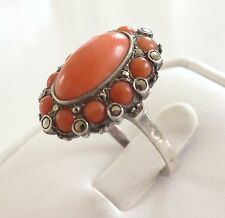 Vtg Natural Salmon Red Coral Ring Size 8.5 Marcasite 925 Silver Antique Art Deco