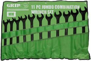 11PC Heavy Duty Jumbo Combination Spanner Set Black Oxide Finish 34-50mm