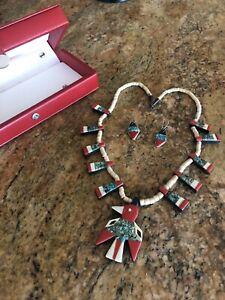 Santo Domingo Native American Depression Thunder Bird Necklace, comes with Case!