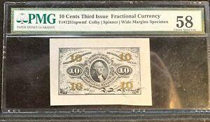 Fractional Currency Wide Margin Specimen PMG CH AU58 FR 1251 spwmf Colby Spinner