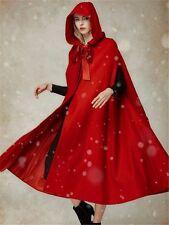 Red Christmas Long Hooded Sleeveless Cape Popular Fashion Women Costume Coat L