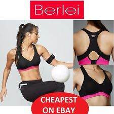 WOMENS LADIES BERLEI ELECTRIFY BLACK / PINK UNDERWIRE SPORTS CROP TOP GYM BRA