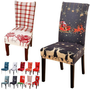 New Christmas Decor Printed Elastic Stretch Chair Cover Protector Seat Slipcover