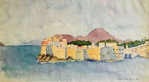 Antique DORIS TEN EYCK ( GRASSO ) Watercolor Seascape Dubrovnik Croatia Adriatic