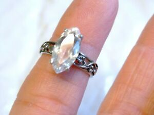 Rock Crystal Ring Sterling Silver Ring Round Crystal Ring Gemstone Ring Handmade Ring Promise Ring Crystal Gemstone Ring Valentine Sale