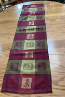 "Fall Autumn Leaves Table Runner Green Purple Red 13""x52"" Harvest Farmhouse"