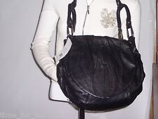 Hype Jessica Black Leather Shoulder Bag with Ruching Silver-tone MSRP $295.00