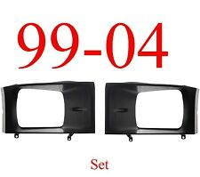 99 04 Super Duty Black Head Light Door Set, For Sealed Beam Lights Both L&R!