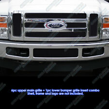 Custom Fits 2008-2010 Ford F250/F350/F450 Black Stainless Steel Mesh Grill Combo