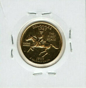 1999 UNITED STATES OF AMERICA QUARTER DOLLAR GOLD PLATED COIN DELAWARE LETTER D