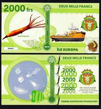 RARE ★ ILE EUROPA ● TAAF / COLONIE ● BILLET POLYMER 2000 FRANCS ★ N.SERIE 000005