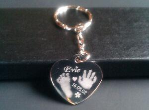 Handprint / Footprint Engraved Charm/Pendant Heart Keyring fingerprint jewellery