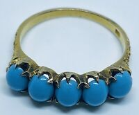 Antique Victorian Solid 10K Gold Persian Gem Turquoise Cabochon Ring (Size 6.5)