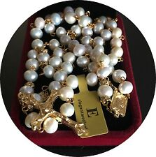 CATHOLIC GLOD 8MM REAL PEARL BEADS NECKLACE ROSE ROSARY CROSS CRUCIFIX GIFT BOX