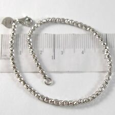 White Gold Bracelet 750 18K With Balls, Spheres Faceted, Heart, 18 CM